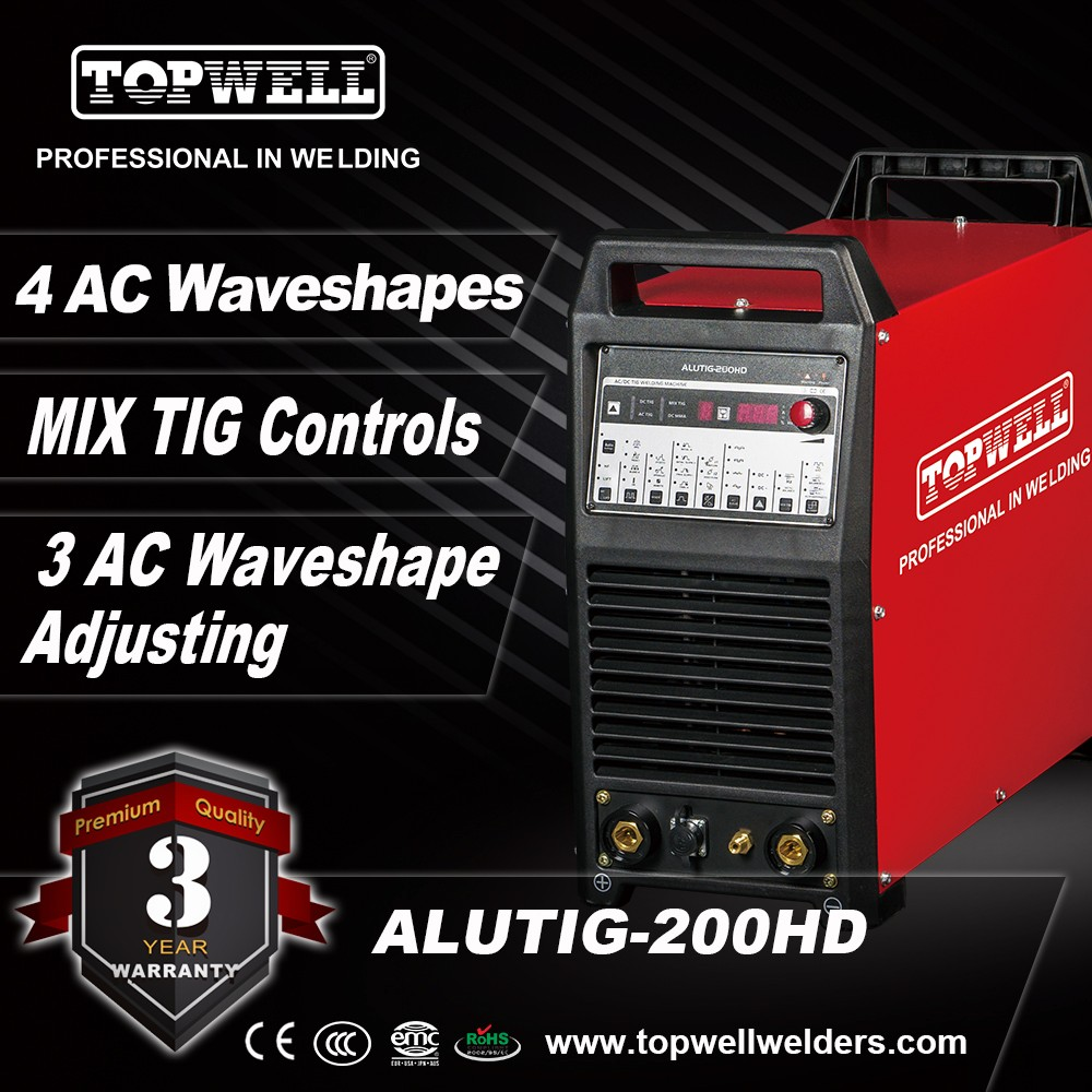 TOPWELL AC/DC MIX pulse TIG welding machine for American market ALUTIG-200HD
