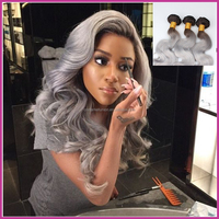 New Arrival Brazilian Body Wave 3pcs/lot Ombre Silver Grey Hair Weaves 1B/Gray Two Tone Brazilian Virgin Human Hair