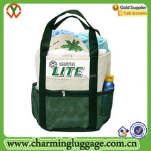 Custom Color PVC Mesh beach bag with secret zip pocket and 9 pleated pockets