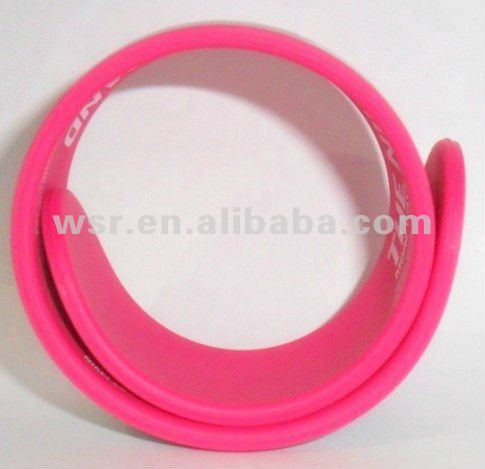 cheapest silicone bracelet with metal slap