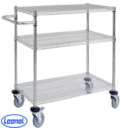 LN-1530607 Hot Sale Industrial ESD 3 Layers Wire Shelf Trolley