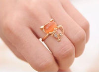 2016 New Fashion Candy Color Rhinestone Crystal Cat Adjustable Rings Simple Finger Ring Jewelry