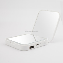 Shenzhen Magnifying LED vanity compact makeup power bank pocket mirror with light