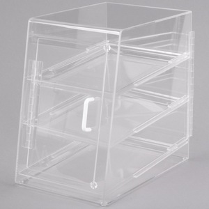Clear Acrylic Pastry Display cases with 3 tiers, Lucite bread storage bins, Perspex pastry display boxes