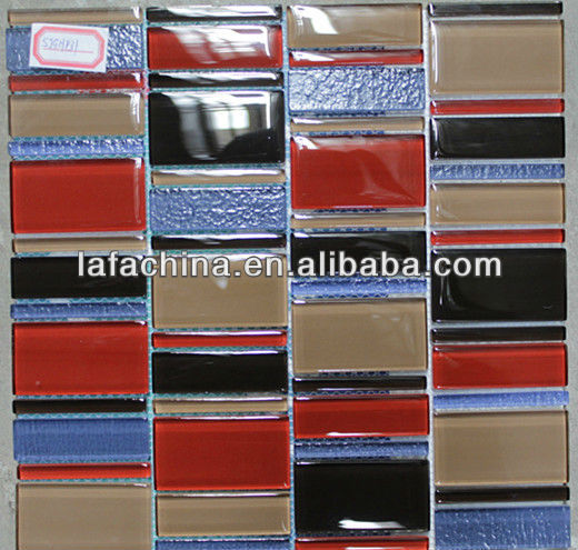 Strip Red gGlass Mosaic Supplier Supplies Building Materials For Bathroom Tile