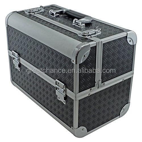 "Cosmetic Cases EN-AC-FC-B086-BK Tool box, Fishing Tackle/Bait Case with Fold Out Trays, 14.1 x 11 x 8.5"", Black"