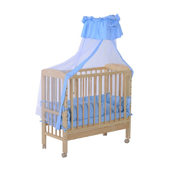 Baby Crib/Bed W/Mosquito Net and Bedding Set - Blue/White