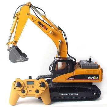 Hot HUINA 1580 580 1:14 23CH RC Excavator Metal Huina RC Truck Big Excavator Full Alloy ELectric Pickup Car RC Digger