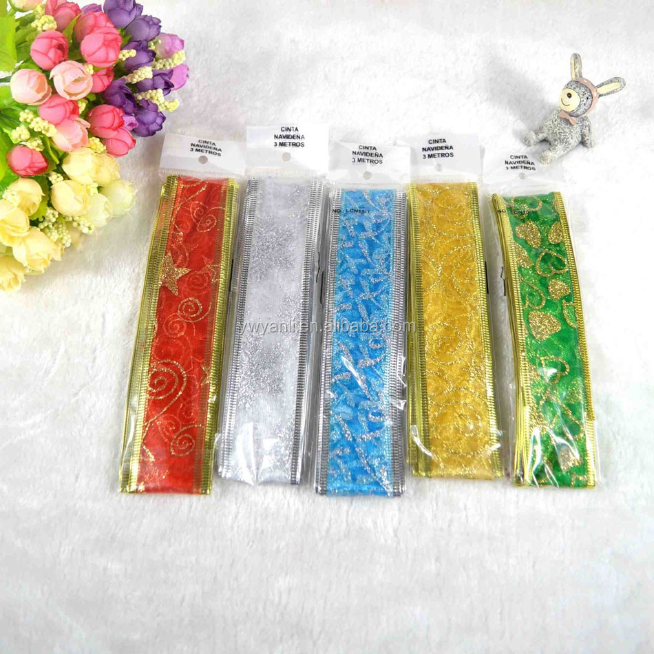 Opp bag packing metallic voile christmas organza ribbons manufacturers