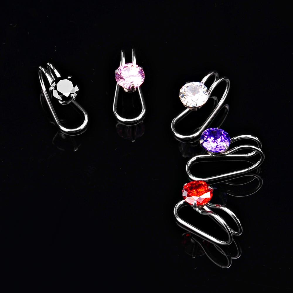 Women different colors round zircon stainless steel ear cuff non piercing earrings wholesale