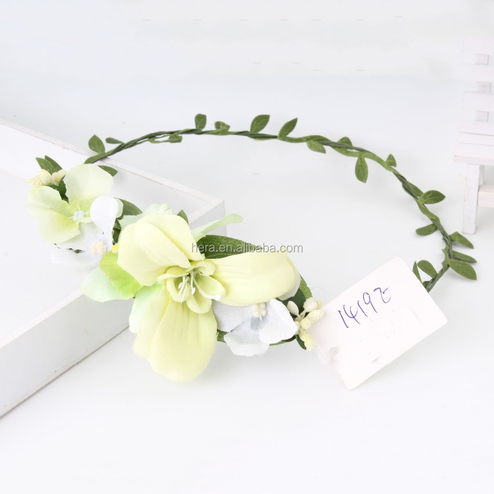 Factory Direct Artificial Flower Head Wreath For Hair