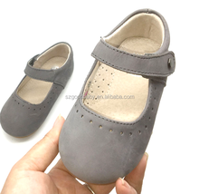 fashion leather upper rubber sole flats kids dress shoes for girls