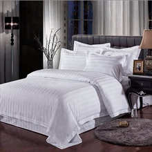 Unisex hotel durable white plain stripe pattern bedding set