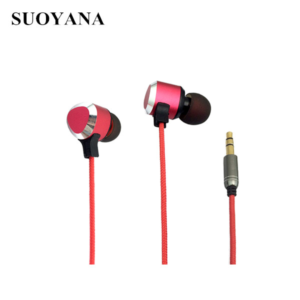 Braided cable earphones metal material stylish zipper headphone