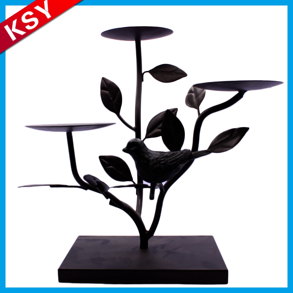 Professional Manufacturer Decorative Black Metal handicraft Flower Candle Holder Lantern Wholesale