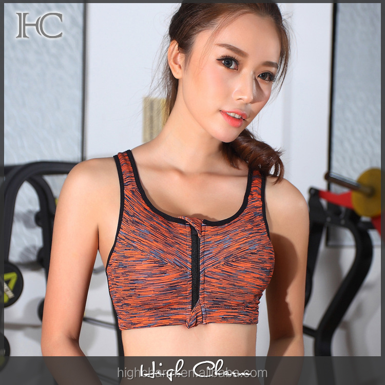 Factory latest high elastic quick dry padded adjustable strap orange front zip racerback seamless yoga bra clothing women