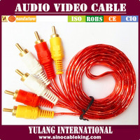 Premium double shielded transparent pvc golden plated RCA Cables for car audio system