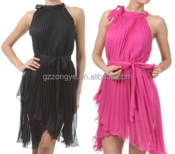 dongfan garments LOW MOQ lady sleeveless sexy Fashion pleated chiffon women dress OEM supply