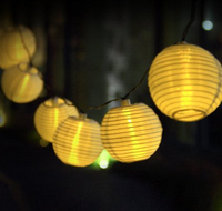 Solar String Lights Outdoor LED Warm White Fabric Lantern Ball Christmas Globle Lights for Garden Path Party