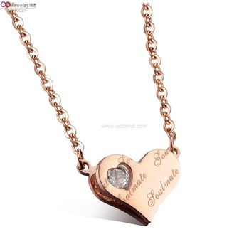 Girls healthy  material made elegant sweet heart pendant necklace for birthday
