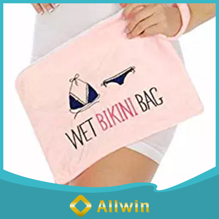 Waterproof Fabric Zipper Wet Bikini Bag With Wrist Strap