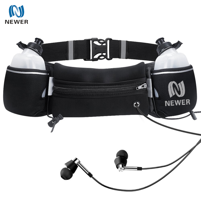 Waterproof fitness workout belt neoprene sports bag with two water bottle  holder a820a38008