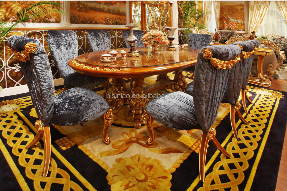 French New Classic Style Rose Design Wood Dining Table Set/ European Fancy Dining Room Furniture Table With Velvet Chair