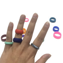 Men's silicone rubber wedding ring bands flexible Comfort Sport Love Ring