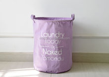 Waterproof Canvas Laundry Basket Cotton Linen Washing Clothes Storage Basket