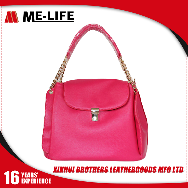 Customized Flash Pink Fancy Bags 3 layers Ladies Handbag