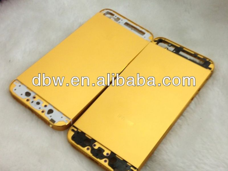 for iphone 5 housing 24k gold color with frame