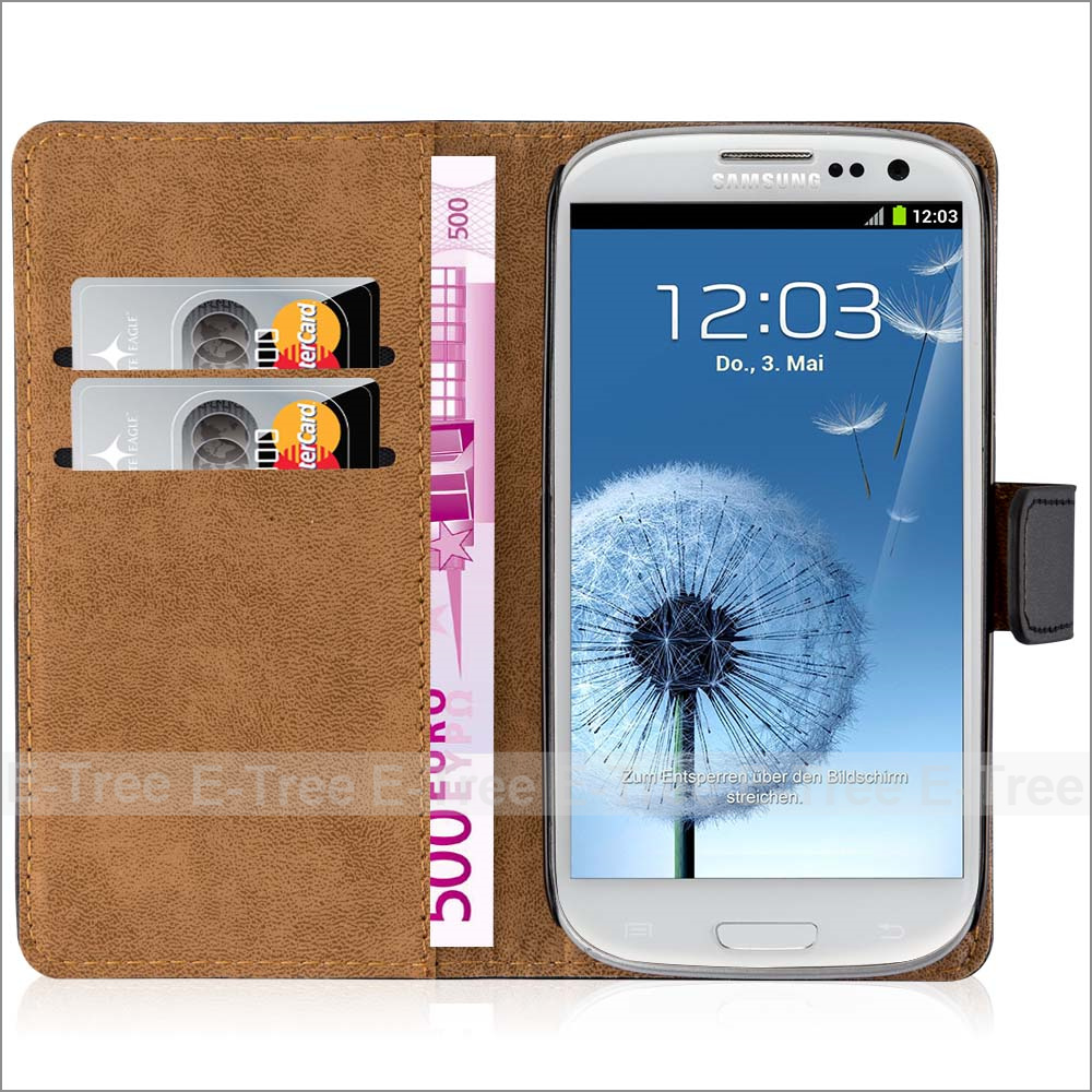 Retro Pu Leather Wallet Stand Case Cover For Samsung Galaxy S3, For Samsung S3 Pouch