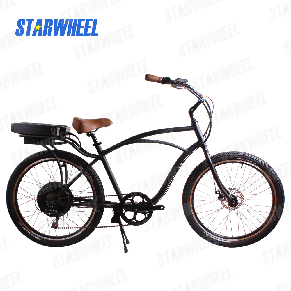 beach cruiser electric bicycle with rear wheel motor adults electric bike