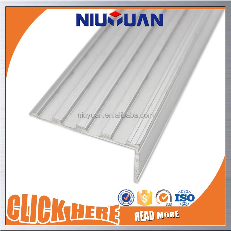 Different Color Rubber Inserted Aluminum Stair Nosing Edge Trim