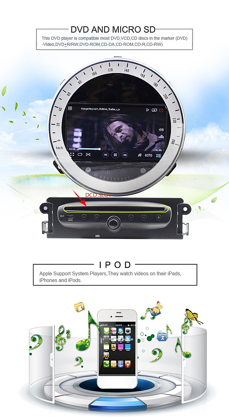 android auto car gps navigation radio dvd vcd cd mp3 mp4 player for MINI COOPERA