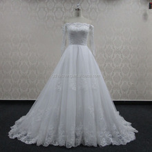 Wholesale high Quality Illusion Chest Cap 3/4 sleeves lace wedding gown