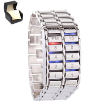 Waterproof Unisex Lava Electronic Binary LED Bracelet Watch