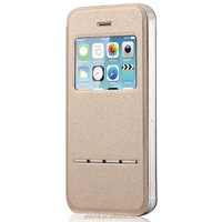 2016 hard slim tpu metal flip auto- unlock your phone with front window mobile case for apple iphone 5 5s