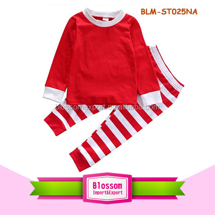 Children frocks designs Infant Cute Baby Unisex 100% Cotton Pajamas Clothes Fashion Christmas Toddler blank red Stripe Outfits