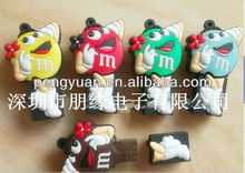 OEM logo promotional gift PVC Dove MM chocolate Pea USB thumbdrive