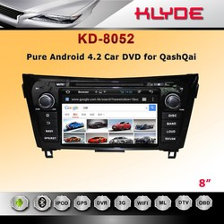 8 inch android 4.2 car dvd player support mirror link OBD for QashQai/X-Trail 2014