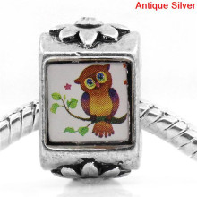 European Charm Beads Antique Silver Flower Carved Clear Rhinestone Owl On The Branch 16x9.5mm,Hole:Approx:5.2mm,10PCs