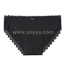 Low price fashion striated seamless women underwear lace bowknot cotton panties