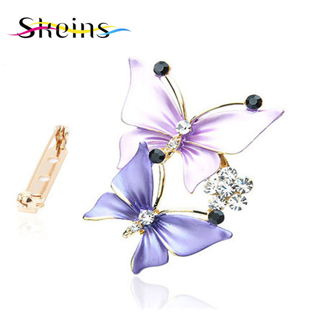2016Skeins  type restoring ancient ways is popular in Europe and America butterfly crystal brooch designed for wedding women