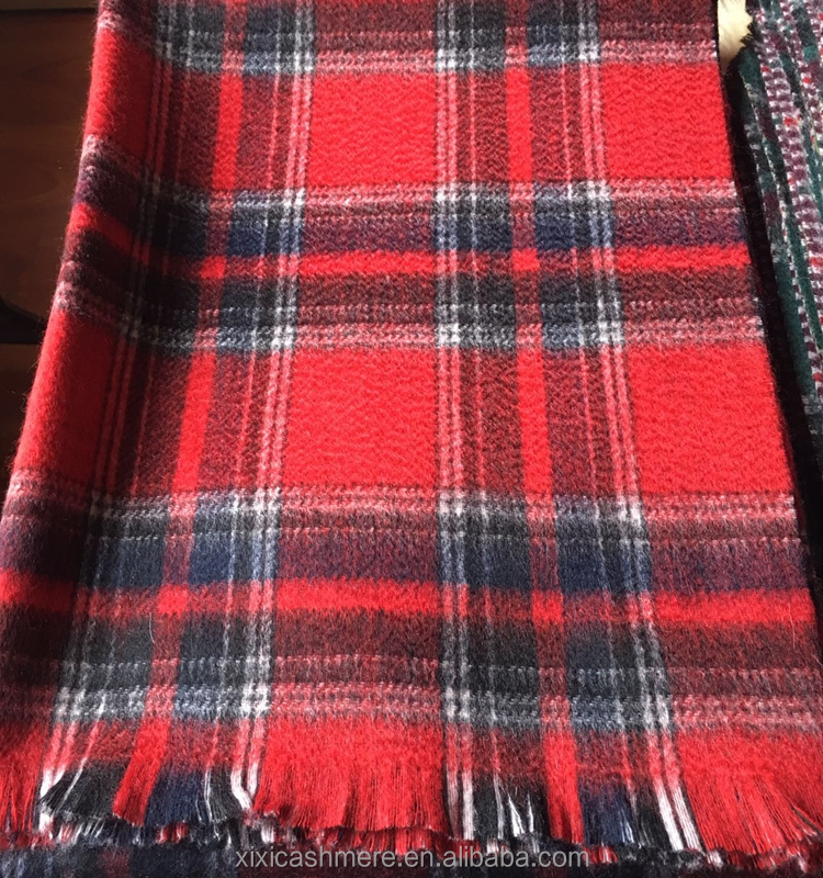 New Style Plaid scarves pure mongolian cashmere scarf Plaid scarf with tassels