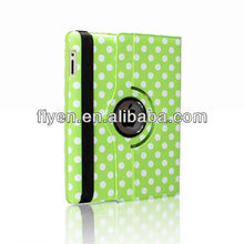 cute green polka dot 360 Rotating PU Wake/Sleep Leather Case Skin Cover for Apple Ipad Air 5 5th Gen