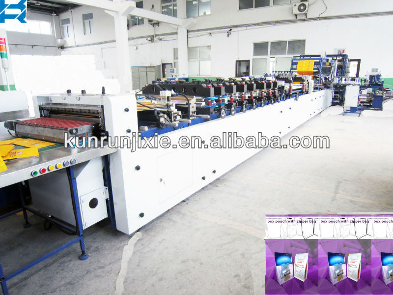 flat bottom laminated paper, karfat pouch, quad flat with zipper bag making machine