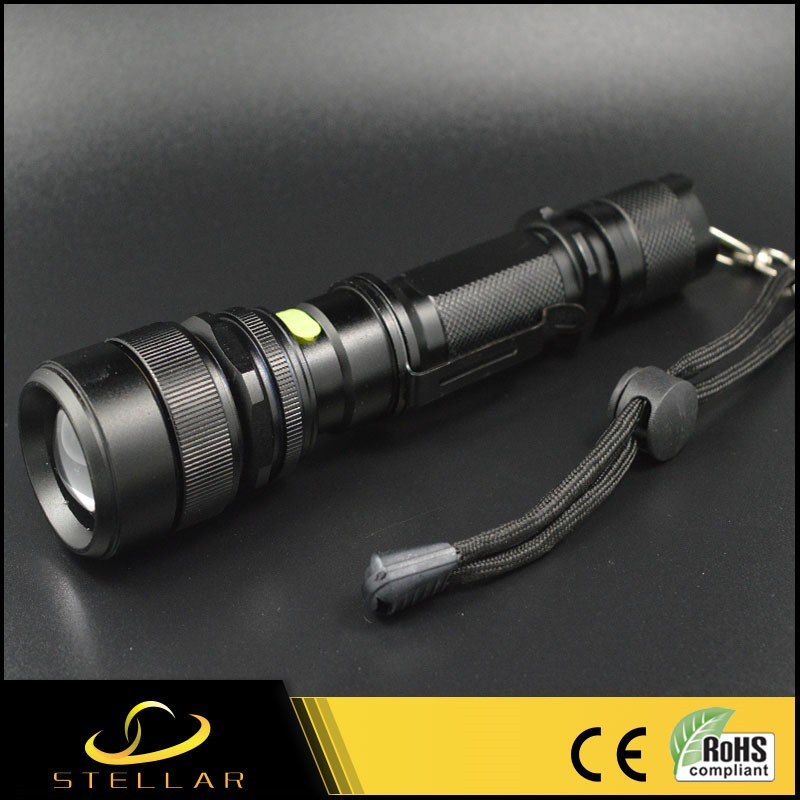 SS-F002UV Logo Printed 365-400nm 1*18650 Battery Operated Handheld Aluminum 3W High Power Rechargeable UV Led Flashlight