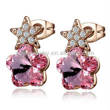 Rose gold pink stone cute star crystal earrings