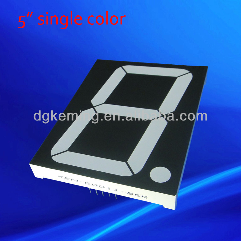 super red color 1 digit 5 inch led digital display seven segment